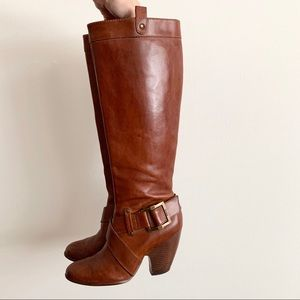 Frye Andrea Belted Tall Heeled Boots in Gognac